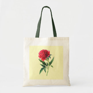 Pretty Red and Pink Garden Peony Flower Stem Tote Bag