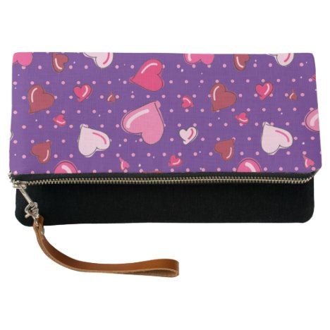 Pretty Red and Pink Heart Fold Over Clutch
