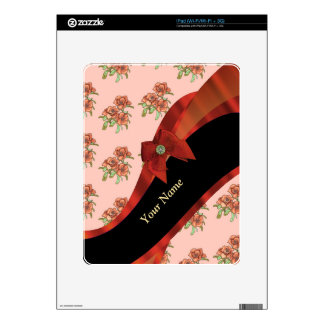 Pretty red and pink vintage floral pattern decals for iPad