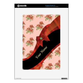 Pretty red and pink vintage floral pattern kindle DX skin