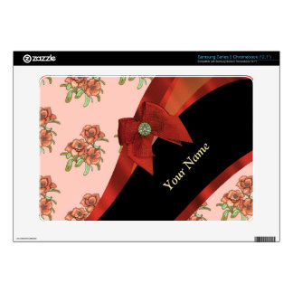Pretty red and pink vintage floral pattern samsung chromebook skins