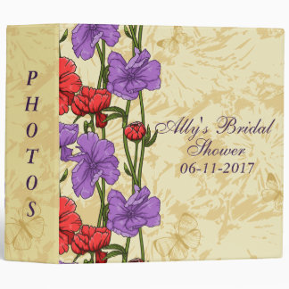 Pretty Red and Purple Floral Bridal Shower Album Binder