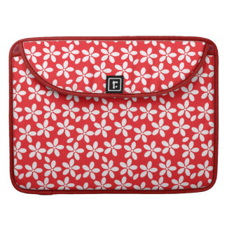 Pretty red and white floral pattern MacBook pro sleeve
