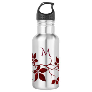 Pretty Red Autumn Leaves on the Vine Monogram Water Bottle