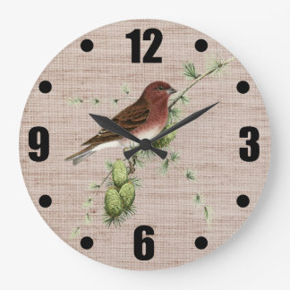 Pretty Red Bird in Pine Tree Natural Background Large Clock
