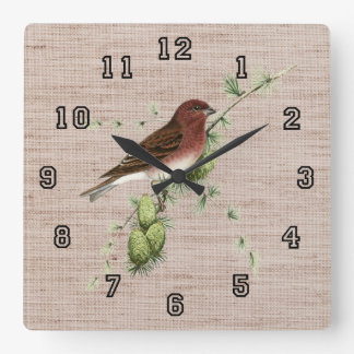 Pretty Red Bird in Pine Tree Natural Background Square Wall Clock
