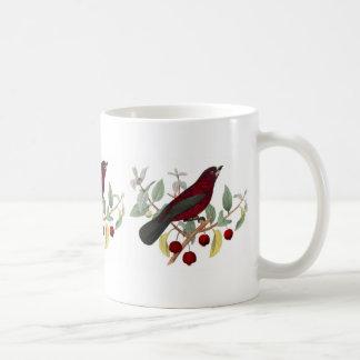 Pretty Red Bird on Berry Branch Coffee Mug