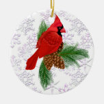 Pretty Red Bird Double-Sided Ceramic Round Christmas Ornament