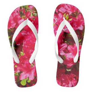 Pretty Red Blossoms, Wide Strap, Flip Flops