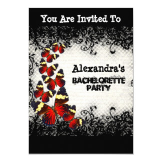 Pretty red butterfly black lace bachelorette party card
