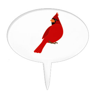 Pretty Red Cardinal Cake Topper