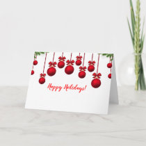 Pretty Red Christmas Baubles All In A Row Card
