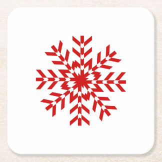 Pretty Red Christmas Snowflake Square Paper Coaster