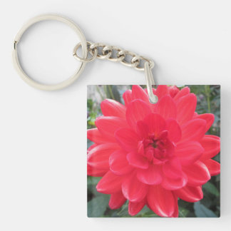 Pretty Red Dahlia Double-Sided Square Acrylic Keychain