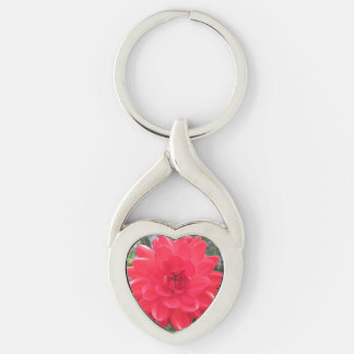 Pretty Red Dahlia Silver-Colored Heart-Shaped Metal Keychain