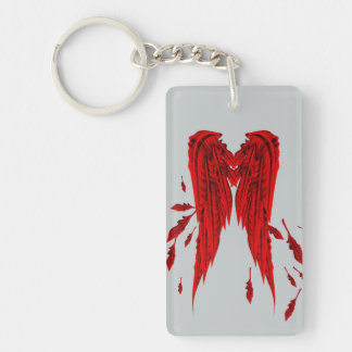Pretty Red Feathers Angel Wings Design Double-Sided Rectangular Acrylic Keychain