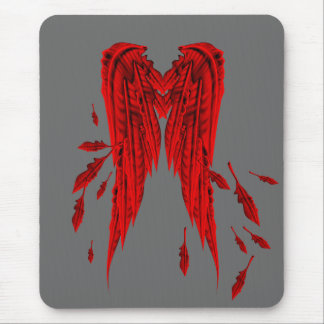 Pretty Red Feathers Angel Wings Design Mouse Pad
