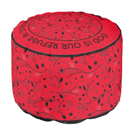 Pretty RED | Floral Print | REFUGE & STRENGTH Pouf