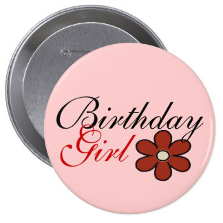 Pretty Red Flower Birthday Girl Big Button