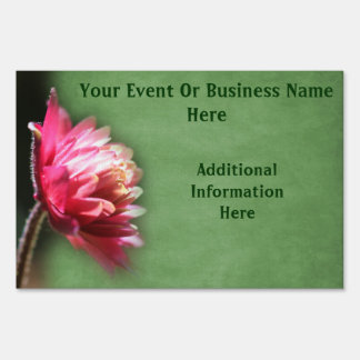 Pretty Red Flower Business Or Event Yard Sign