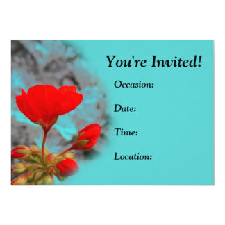 Pretty Red Flower Invitations