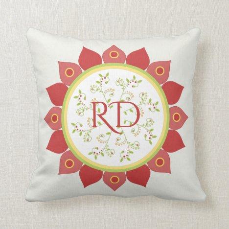Pretty Red Flower Mandala Monogrammed Meditation Throw Pillow