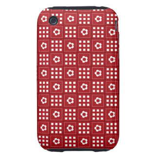 Pretty Red Flower Patchwork Quilt Pattern Tough iPhone 3 Cover