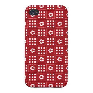 Pretty Red Flower Patchwork Quilt Pattern iPhone 4 Cover
