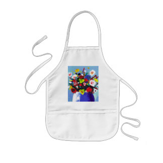 Pretty Red Flowers floral abstract painting Kids' Apron
