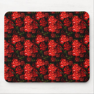 Pretty Red Flowers & Greenery Mouse Pad