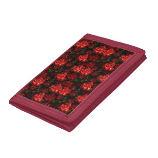 Pretty Red Flowers & Greenery Trifold Wallet