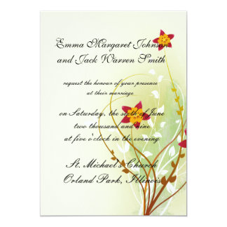 pretty red flowers on soft green personalized announcement
