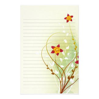 pretty red flowers on soft green  lined paper stationery