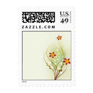 pretty red flowers on soft green stamps