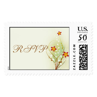 pretty red flowers on soft green RSVP Postage