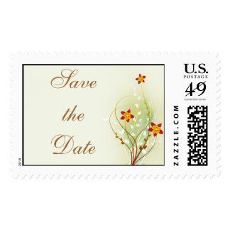 pretty red flowers on soft green save the date stamp