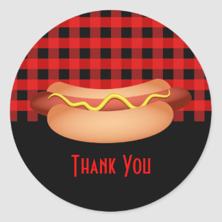 Pretty Red Gingham Hotdog Thank You Seal Classic Round Sticker