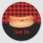 Pretty Red Gingham Hotdog Thank You Seal Stickers