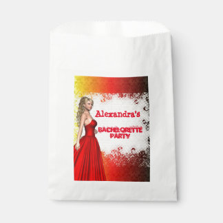 Pretty red girl personalized bachelorette party favor bag
