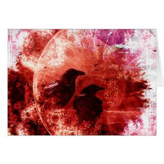Pretty Red Grunge Raven Fantasy Design Card