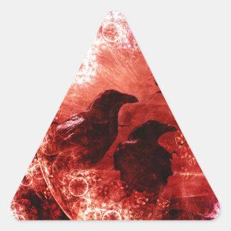 Pretty Red Grunge Raven Fantasy Design Triangle Sticker