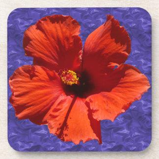 Pretty Red Hibiscus Flower Beverage Coaster