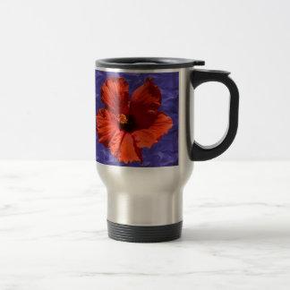 Pretty Red Hibiscus Flower 15 Oz Stainless Steel Travel Mug