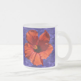 Pretty Red Hibiscus Flower 10 Oz Frosted Glass Coffee Mug