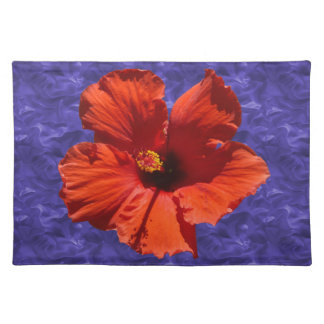 Pretty Red Hibiscus Flower Place Mats