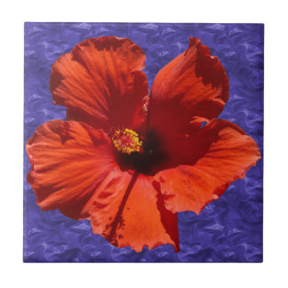 Pretty Red Hibiscus Flower Small Square Tile