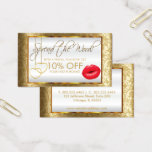 Pretty Red Lipstick Business Referral Business Card