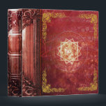 """Pretty Red Magic Star Ancient Tome 3 Ring Binder<br><div class=""""desc"""">Step into the past with this whimsical ancient-tome-themed novelty binder,  alive with faux rustic leather tones and gold-embossed detail. Makes a fantastic one-of-a-king gift. Shop the rest of our Ancient Tome themed binders and notebooks for a unique niche of products you don&#39;t want to miss!</div>"""