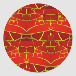 Pretty Red Mosaic Tiles Girly Pattern Classic Round Sticker
