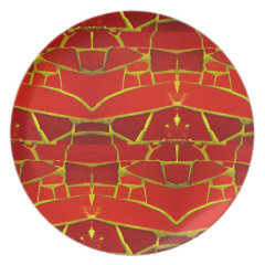 Pretty Red Mosaic Tiles Girly Pattern Party Plates